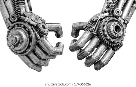 Hand of Metallic cy-ber or robot made from Mechanical ratchets bolts and nuts