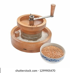 hand mill for grinding grain on white background