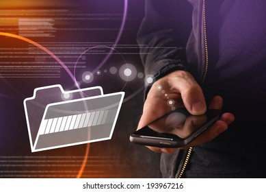 Hand with mobile smart phone transferring files to cloud folder. New technology data backup or file sharing concept.