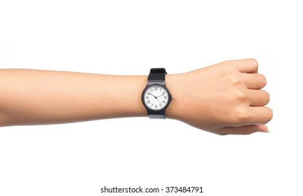Hand with modern watch showing 10:10 o'clock isolated on white background