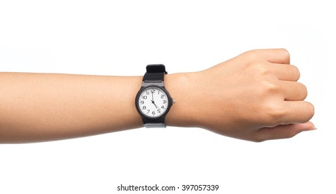 Hand with modern watch showing 5 O'clock isolated on white background