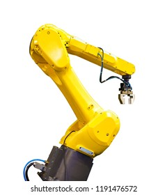 hand of modern yellow industrial robot with hydraulic connections isolate on white background
