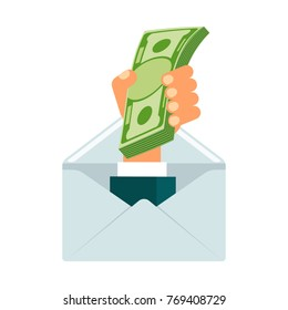 Hand with money pops out of envelope. Payment of services, bribe, monetary reward, gratitude and bribery. Corruption and financial fraud in business. Flat illustration isolated on background.