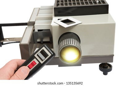 hand moving and adjust lens focus slide projector with remote control