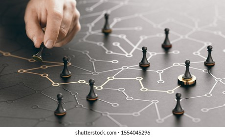 Hand moving pawn on a conceptual maze. Shortcut to success or career guidance concept. Composite image between a hand photography and a 3D background.