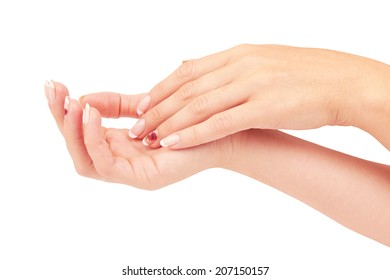 Hand with nail french manicure isolated on white background