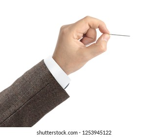 Hand with needle isolated on white background