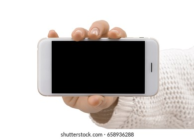Hand with  New Mobile Cell Phone with Blank Screen isolated on White Background