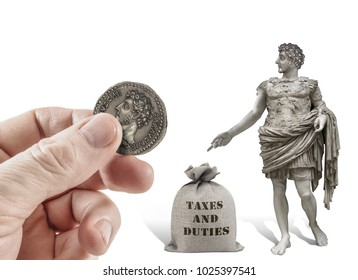 Hand offering Caesar statue a coin with his image for taxes. Render therefore unto Caesar the things which are Caesar's (Matthew 22:20-22)