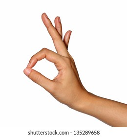 Hand OK sign (with clipping path)