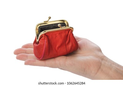 Hand of old man and purse isolated on white background