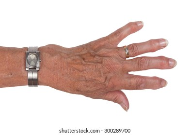 Hand of an old woman, close-up, isolated