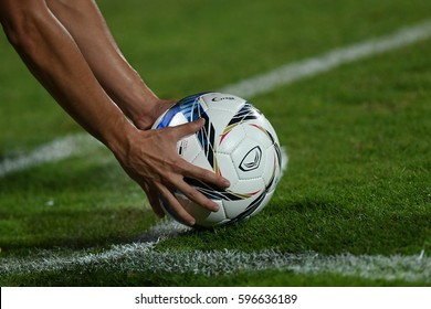 Hand on the ball during The Toyota Thai League 2017 match between Muangthong United and Sukhothai FC. at SCG Stadium on February 17, 2017 in Thailand