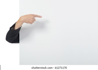 Hand on a billboard. Isolated on white background