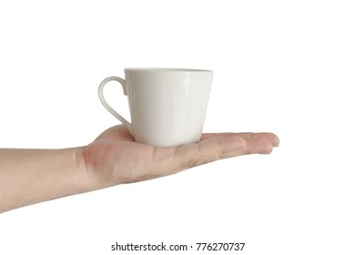 Hand on Coffee cup on white background