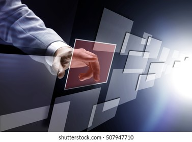 hand on the flow of several button