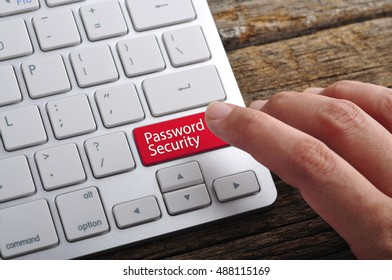 """Hand On Keyboard with Word """"Password Security"""""""