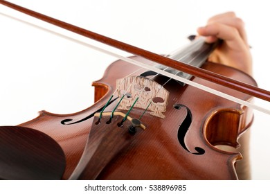 Hand on the strings of a violin. isolated on studio white background.