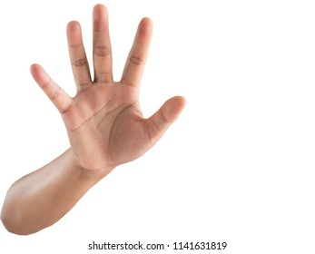 Hand on white background.