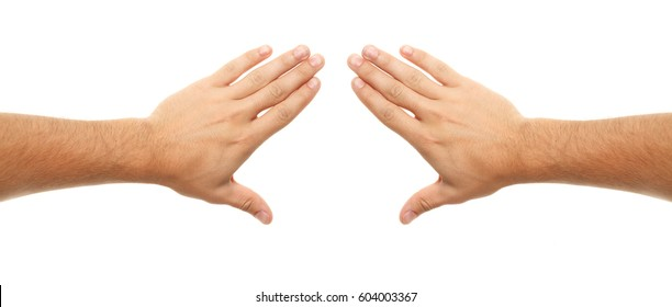 Hand on white background. Different gestures.