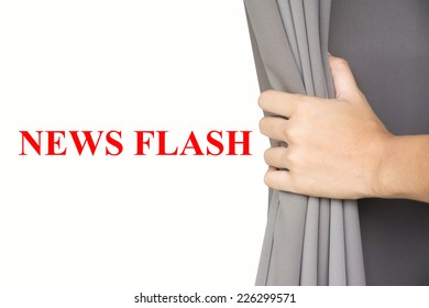 Hand open the blinds Write NEWS FLASH