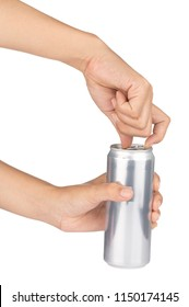 hand open metal can isolated on white background
