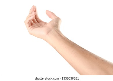 Hand open and ready to help or receive. Gesture isolated on white background with clipping path. Helping hand outstretched for salvation.