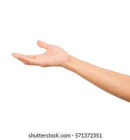 hand open and ready to help or receive. Gesture isolated on white background