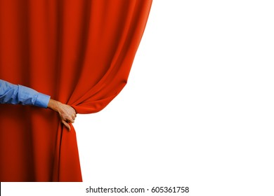 hand open red curtain