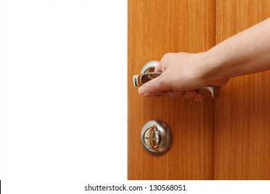 Hand opening the door. Horizontal format over a white background with copy space  sc 1 st  Shutterstock & Hands Behind Blue Door Stock Photo 34191031 - Shutterstock