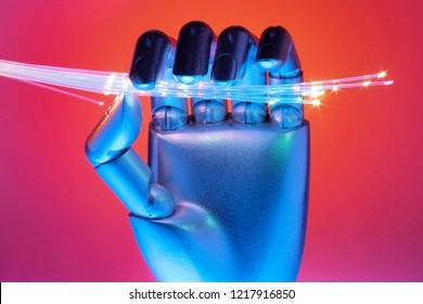 Hand with Optical Fibres with Red Background