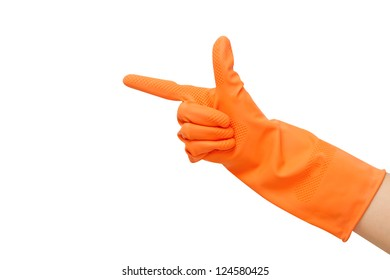 hand with orange glove pointing hand to something  on white back ground