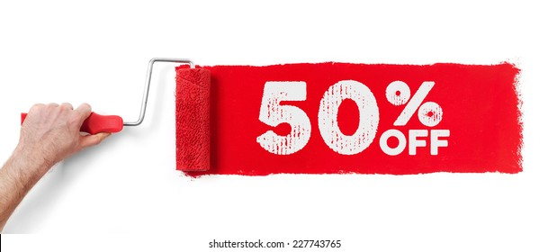 Hand with paint roller showing 50 % off, isolated on white