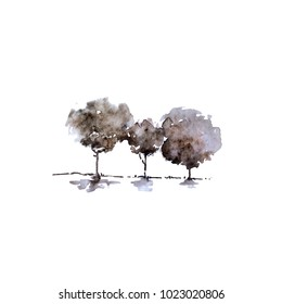 Hand paint tree. Vintage watercolor tree. Outdoor theme. Forest. Fog. (Can be used as texture for cards, invitations, DIY projects, web sites or for any other design.)