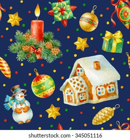 Hand paint watercolor seamless pattern with christmas decorations