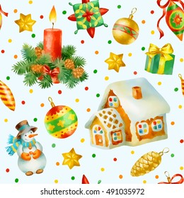 Hand paint watercolor seamless pattern with christmas decorations.