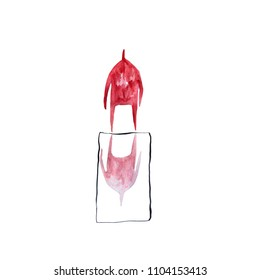 Hand paint watercolor stick figure illustration. Red people. Speech. Man and mirror. Interior. Water. (Can be used as texture for cards, invitations, DIY projects, web sites or for any other designs)