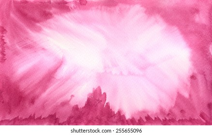 Hand painted abstract watercolor background texture in light pink and magenta.