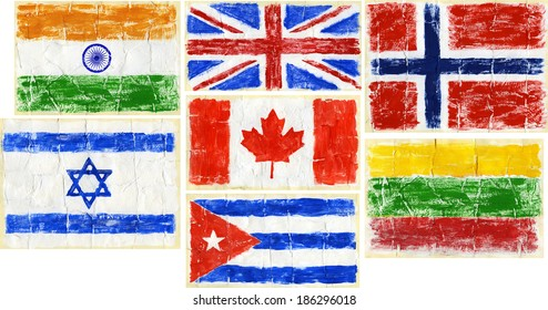 Hand painted acrylic flags. Including flags of India, UK, Norway, Lithuania, Israel, Canada, Cuba.