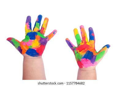 Hand painted child on white background