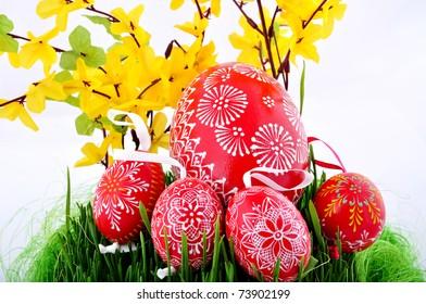 Hand painted czech easter eggs in fresh green grass