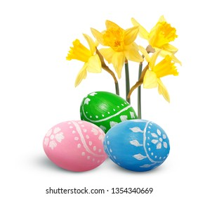 Hand painted Easter eggs and daffodils isolated on white background.