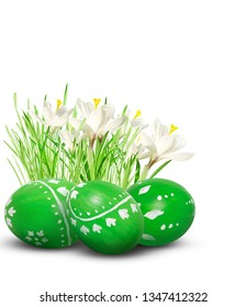 Hand painted Easter eggs and flowers isolated on white background.