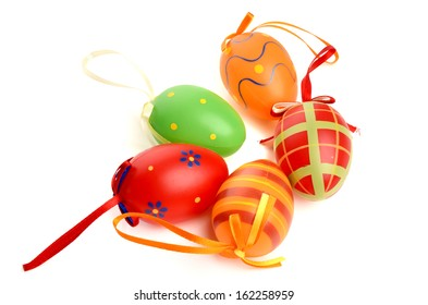 Hand painted easter eggs on white background. Isolated on white
