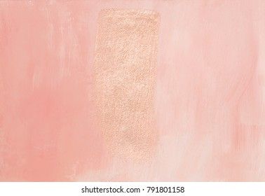 Hand painted feminine elegant dusty pink abstract background texture with shiny metallic golden brush stroke