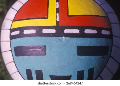 Hand painted Hopi instrument  in tight close-up in Taos, NM