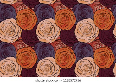 Hand painted illustration in orange, beige and purple colors. Raster rose flowers seamless pattern.