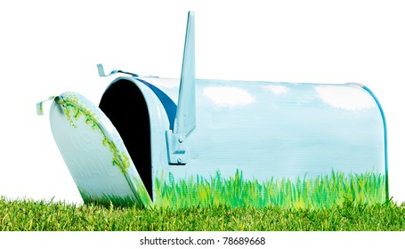 Hand painted mailbox open in an isolated grassy setting