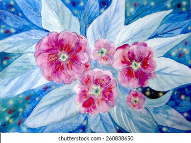 hand painted pink primroses in blue watercolor background