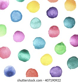 Hand painted polka dot pattern. Abstract watercolor texture shapes colorful. Design illustration image. Print,poster,cover,backdrop,fabric design.